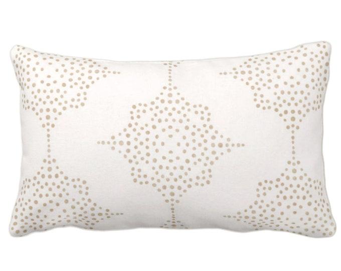 "Block Print Stars Throw Pillow or Cover, Camel & Ivory 14 x 20"" Lumbar Pillows, Covers, Beige Blockprint/Geometric/Batik/Boho/Tribal Print"