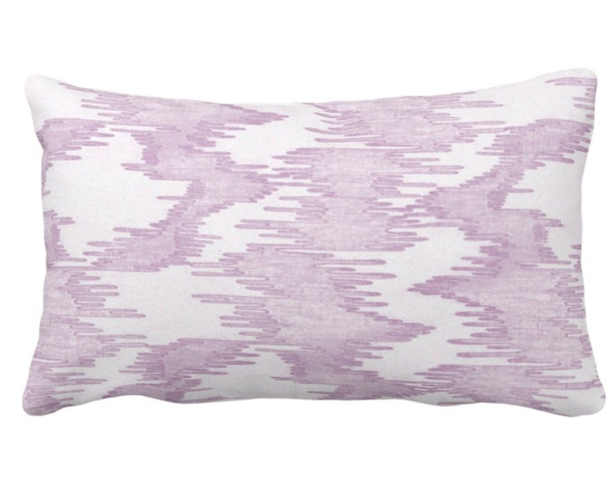 """SALE Ikat Print Throw Pillow Cover, Purple/White 14 x 20"""" Lumbar Pillow Covers Painted, Abstract/Modern/Lines/Geo/Ikat Stripe Pattern"""
