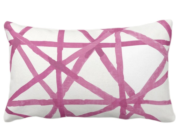 "OUTDOOR Painted Lines Throw Pillow or Cover, White/Bright Pink 14 x 20"" Lumbar Pillows/Covers Print, Abstract Geometric/Geo/Lines Pattern"
