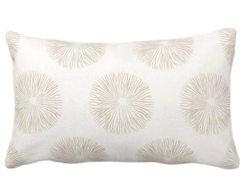 """OUTDOOR Sea Urchin Throw Pillow or Cover, Sand/Off-White 14 x 20"""" Lumbar Pillows/Covers, Beige/Tan Abstract Geo/Geometric Print/Pattern"""