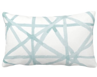 "READY 2 SHIP Painted Lines Print Throw Pillow Cover, White/Seaglass 14 x 20"" Lumbar Covers, Blue/Green Abstract/Geometric/Geo/Modern/Lines"