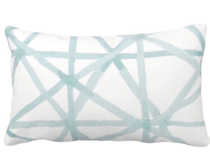 """READY 2 SHIP Painted Lines Print Throw Pillow Cover, White/Seaglass 14 x 20"""" Lumbar Covers, Blue/Green Abstract/Geometric/Geo/Modern/Lines"""