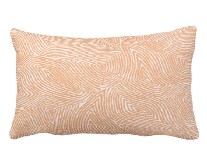 """OUTDOOR Sulcata Geo Throw Pillow or Cover, Terracotta & White 14 x 20"""" Lumbar Pillows/Covers, Abstract Geometric/Lines/Waves Print/Pattern"""
