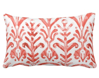 """OUTDOOR Watercolor Print Throw Pillow or Cover, Coral/White 14 x 20"""" Lumbar Pillows or Covers, Red/Orange/Pink, Ikat/Tribal/Boho Print"""