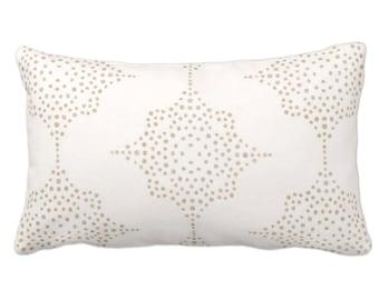"OUTDOOR Block Print Stars Throw Pillow or Cover, Camel & Ivory 14 x 20"" Lumbar Pillows/Covers, Blockprint/Batik/Boho/Geometric/Tribal Print"