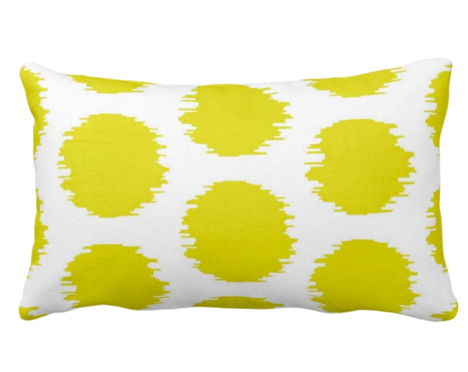 """OUTDOOR Ikat Dot Throw Pillow or Cover, Yellow/White 14 x 20"""" Lumbar Pillows or Covers, Dots/Spots/Spot/Circles/Polka/Dotted Print/Pattern"""