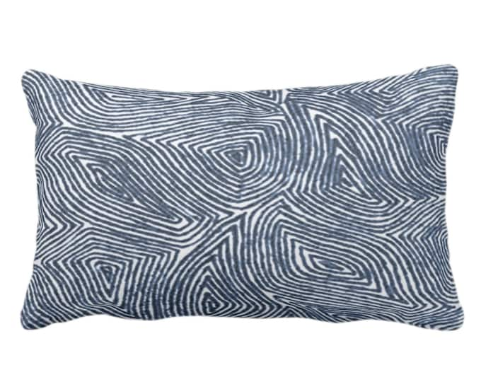 """OUTDOOR Sulcata Geo Throw Pillow/Cover, Navy & White 14 x 20"""" Lumbar Pillows/Covers, Dark Blue Abstract Geometric/Lines/Waves Print/Pattern"""