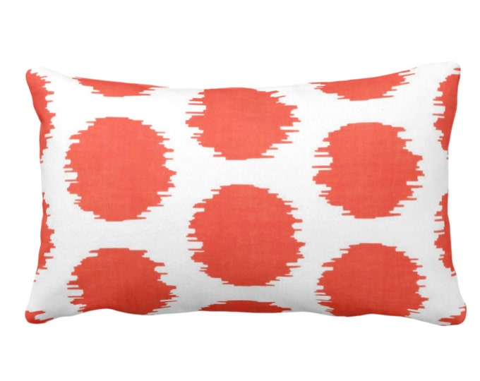 "OUTDOOR Ikat Dot Throw Pillow or Cover, Coral/White 14 x 20"" Lumbar Pillows or Covers, Dots/Spots/Spot/Circles/Polka/Dotted Print/Pattern"