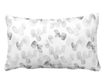 "OUTDOOR Watercolor Confetti Abstract Throw Pillow or Cover, Gray/White 14 x 20"" Lumbar Pillows/Covers, Minimal/Modern/Dots/Art Print/Pattern"