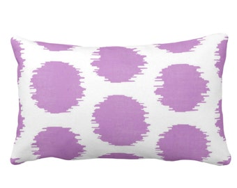 """OUTDOOR Ikat Dot Throw Pillow or Cover, Purple/White 14 x 20"""" Lumbar Pillows or Covers, Dots/Spots/Spot/Circles/Polka/Dotted Print/Pattern"""