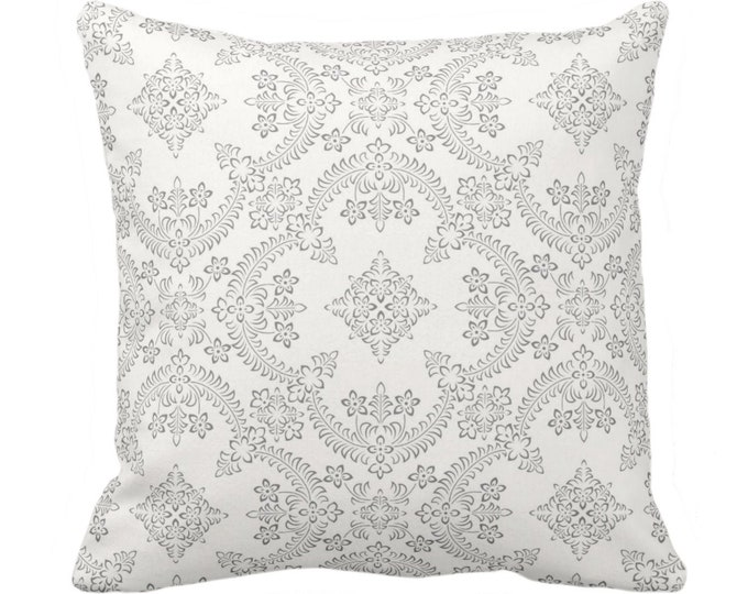 """OUTDOOR Priano Print Throw Pillow/Cover, Charcoal/White 14, 16, 18, 20, 26"""" Sq Pillows/Covers Gray Floral/Tile/Geometric/Trellis/Geo Pattern"""