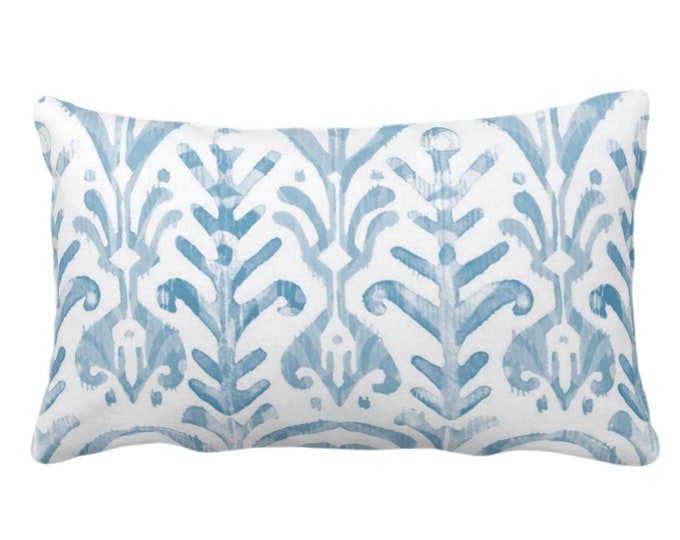 """OUTDOOR Watercolor Print Throw Pillow or Cover, Dusty Blue/White 14 x 20"""" Lumbar Pillows or Covers, Light Ikat/Boho Hand Painted Print"""