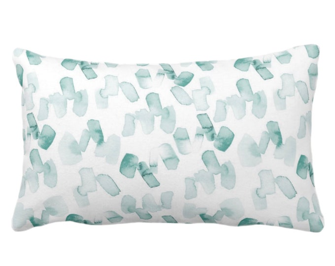"""OUTDOOR Watercolor Confetti Abstract Print Throw Pillow or Cover, Lagoon/White 14 x 20"""" Lumbar Pillows/Covers, Modern Dusty Blue/Green"""