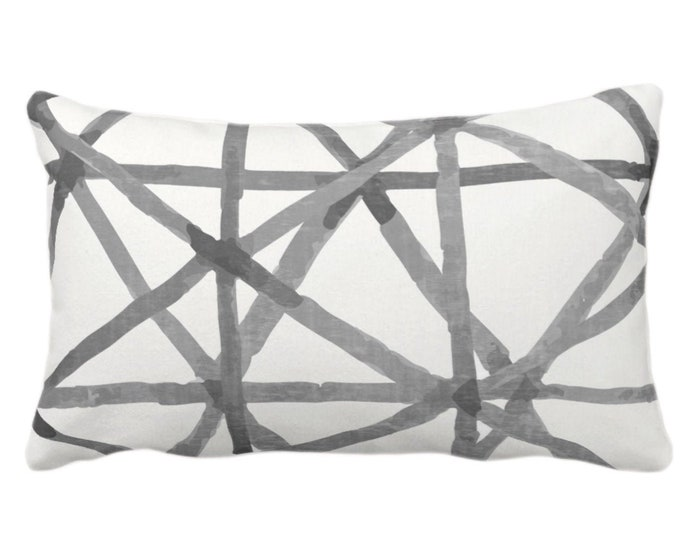 "Painted Lines Print Throw Pillow or Cover, White/Charcoal 14 x 20"" Lumbar Pillows or Covers, Black/Gray Abstract/Geometric/Geo/Modern/Lines"