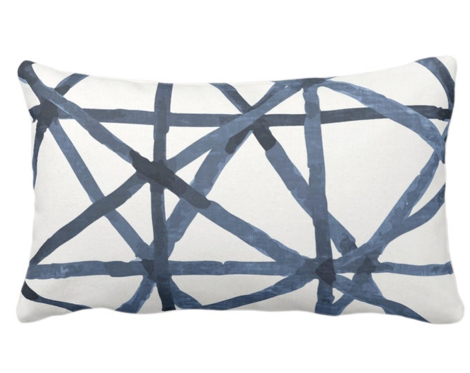 """OUTDOOR/READY 2 SHIP Painted Lines Throw Pillow Cover, White/Navy 14 x 20"""" Lumbar Covers Print, Dark Blue Abstract Geometric/Geo/Lines"""