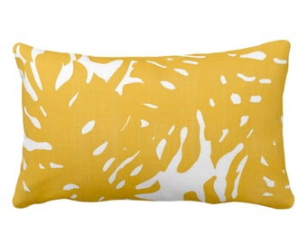 """OUTDOOR Palm Silhouette Throw Pillow or Cover Golden/White Print 14 x 20"""" Lumbar Pillows/Covers Bright Yellow Tropical/Modern/Leaves Pattern"""