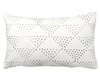 "Batik Triangles Print Throw Pillow or Cover, Off-White/Gray/Black 14x20"" Lumbar Pillows or Covers, Diamond/Geo/Geometric/Tribal/Hmong/Design"