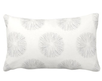 """OUTDOOR Sea Urchin Throw Pillow or Cover, Smoke/Off-White 14 x 20"""" Lumbar Pillows/Covers, Gray/Grey Abstract/Geometric/Geo/Modern Pattern"""