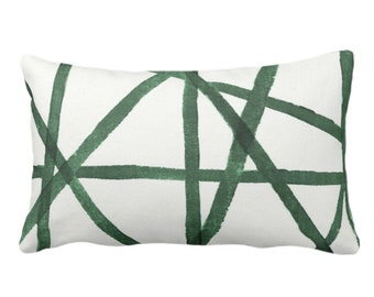 """OUTDOOR Hand-Painted Lines Throw Pillow or Cover, Kale/White 14 x 20"""" Lumbar Pillows or Covers Abstract/Channels/Stripes Green Print"""