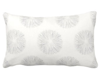 """Sea Urchin Print Throw Pillow or Cover, Smoke/Off-White 14 x 20"""" Lumbar Pillows or Covers, Light Gray/Grey Abstract Geometric Pattern"""