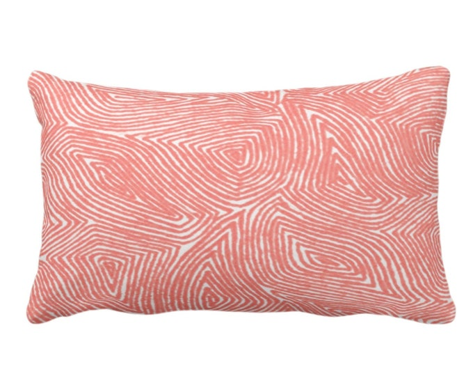 """OUTDOOR Sulcata Geo Throw Pillow or Cover, Living Coral & White 14 x 20"""" Lumbar Pillows/Covers, Abstract Geometric/Lines/Waves Print/Pattern"""