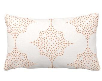 "Block Print Stars Throw Pillow or Cover, Coral & Ivory 14 x 20"" Lumbar Pillows, Covers, Earthy Orange Blockprint/Geometric/Batik/Boho/Tribal"