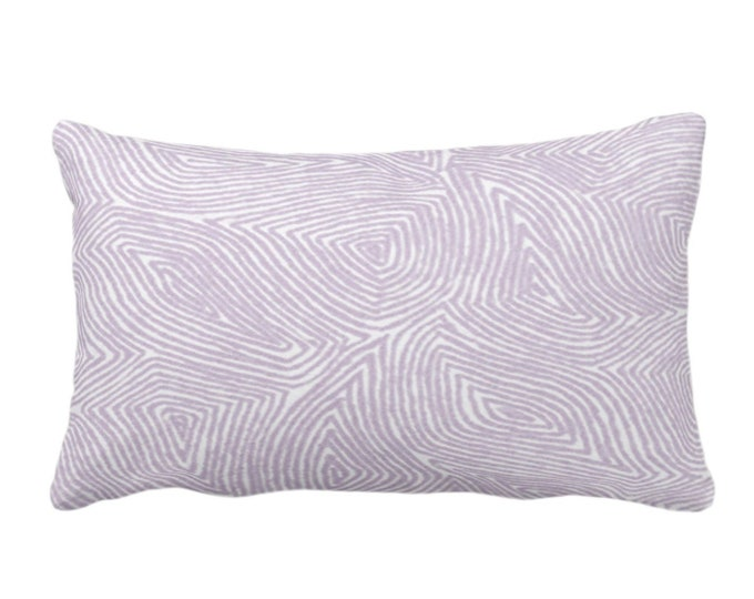 """OUTDOOR Sulcata Geo Throw Pillow or Cover, Dusty Purple & White 14 x 20"""" Lumbar Pillows/Covers, Abstract Geometric/Lines/Waves Print/Pattern"""