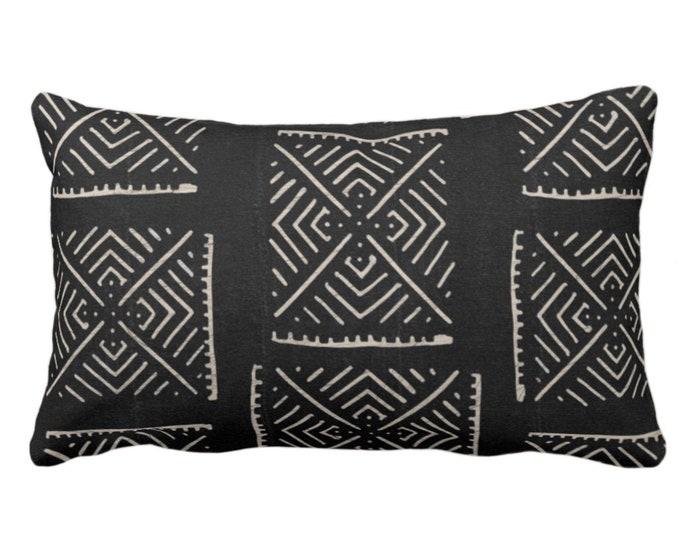 "Mud Cloth Printed Throw Pillow or Cover, Diamond Geo Black/Off-White Arrows Print 14 x 20"" Lumbar Pillows/Covers, Mudcloth/Tribal/Geometric"
