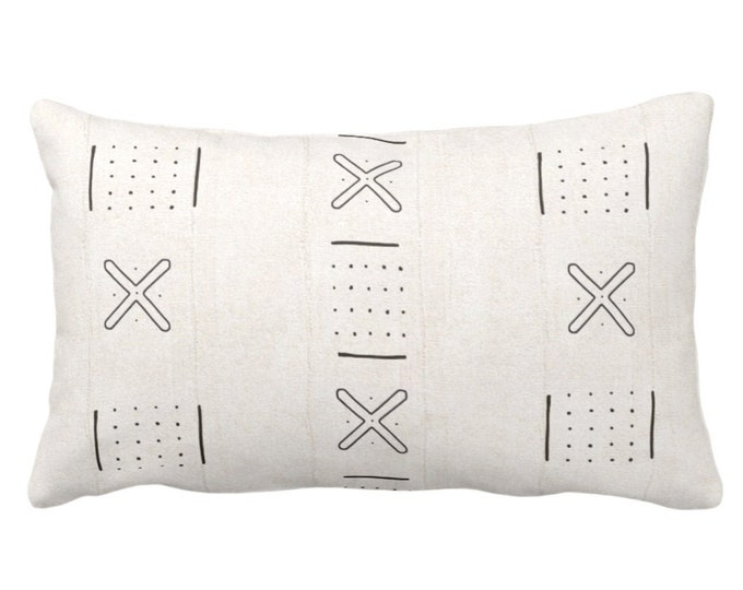 """Mud Cloth Printed Throw Pillow or Cover, X Outline/Dots Off-White/Black Arrows Print 14 x 20"""" Lumbar Pillows or Covers, Mudcloth/Tribal/Geo"""