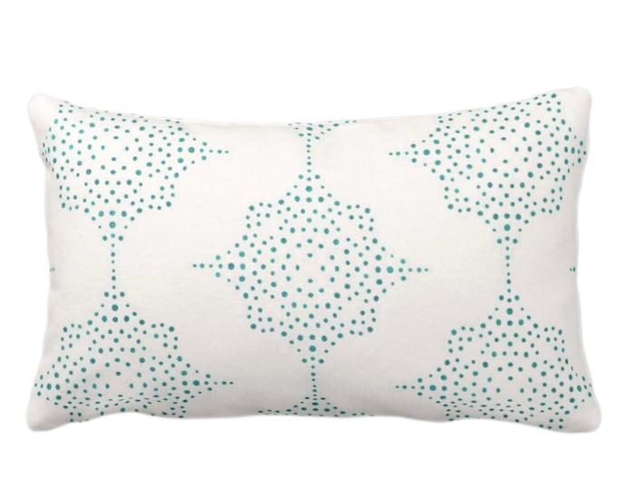 "OUTDOOR Block Print Stars Throw Pillow or Cover, Teal & Ivory 14 x 20"" Lumbar Pillows/Covers, Blue/Green Wood Blockprint/Batik/Geometric"