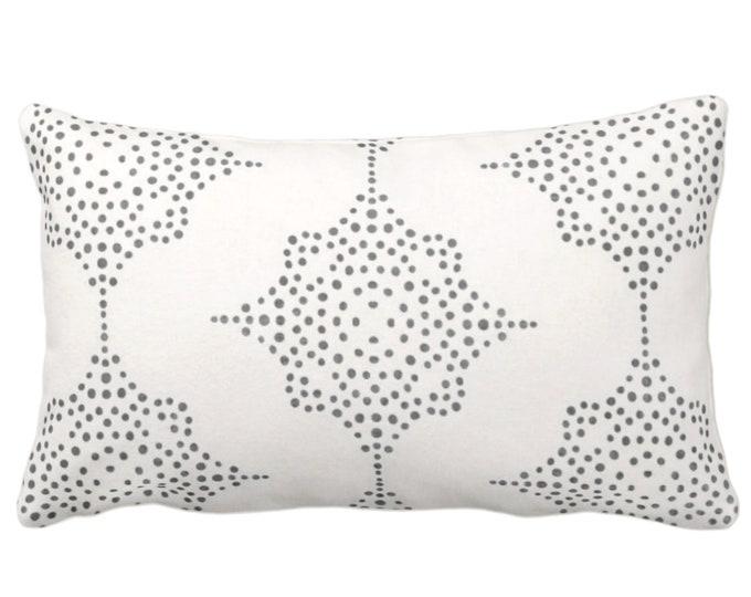 "Block Print Stars Throw Pillow or Cover, Charcoal Gray & Ivory 14 x 20"" Lumbar Pillows, Covers, Blockprint/Geometric/Batik/Boho/Tribal Print"