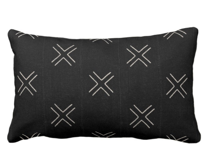 "OUTDOOR Mud Cloth Throw Pillow or Cover, Double X Black/Off-White Print 14 x 20"" Lumbar Pillows/Covers, Mudcloth/Tribal/Geometric/Cross/Geo"