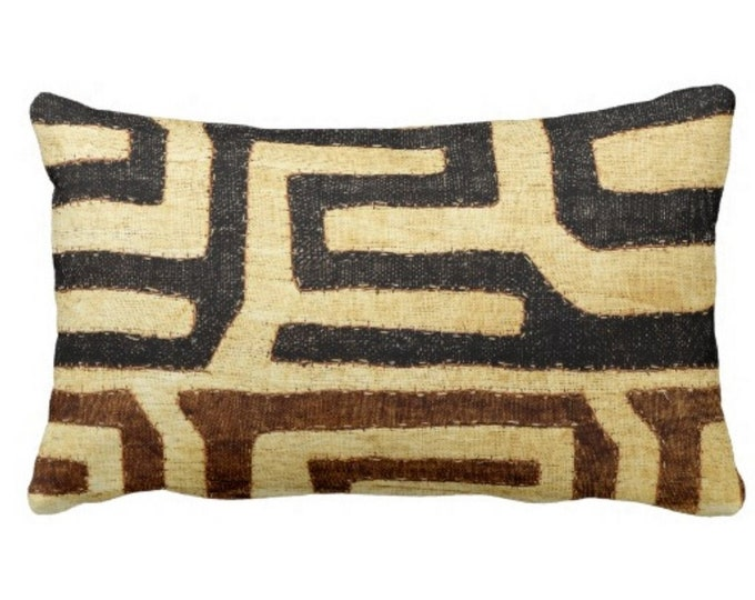 """OUTDOOR Kuba Cloth PRINTED Throw Pillow or Cover, Beige/Brown/Black 14 x 20"""" Lumbar Pillows or Covers, African Tribal/Traditional/Boho Print"""