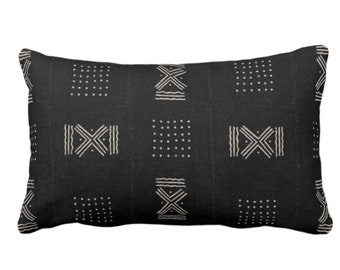 """Mud Cloth Printed Throw Pillow or Cover, Double X/Dots Black/Off-White Arrows Print 14 x 20"""" Lumbar Pillows/Covers Mudcloth/Tribal/Geometric"""
