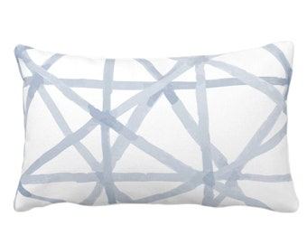 """Painted Lines Print Throw Pillow or Cover, White/Chambray 14 x 20"""" Lumbar Pillows or Covers, Light Blue Abstract/Geometric/Geo/Modern/Lines"""
