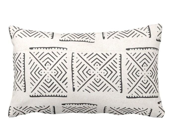 "Mud Cloth Throw Pillow or Cover, Diamond Geo Off-White/Black Arrows Print 14 x 20"" Lumbar Pillows or Covers, Mudcloth/Tribal/Geometric/Geo"