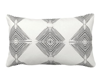 "OUTDOOR Tribal Diamond Geometric Throw Pillow or Cover, Black/Off-White Print 14 x 20"" Lumbar Pillows/Covers, Geo/Lines/Triangles/Modern"