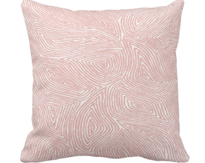 "Sulcata Geo Throw Pillow or Cover, Porcelain Pink & White 14, 16, 18, 20, 26"" Sq Pillows/Covers, Abstract Geometric/Tribal/Lines Pattern"