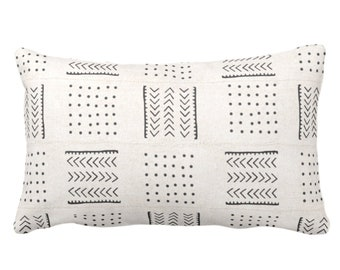"OUTDOOR Mud Cloth Throw Pillow or Cover, Arrows & Dots Off-White/Black Print 14 x 20"" Lumbar Pillows/Covers, Mudcloth/Tribal/Geometric"