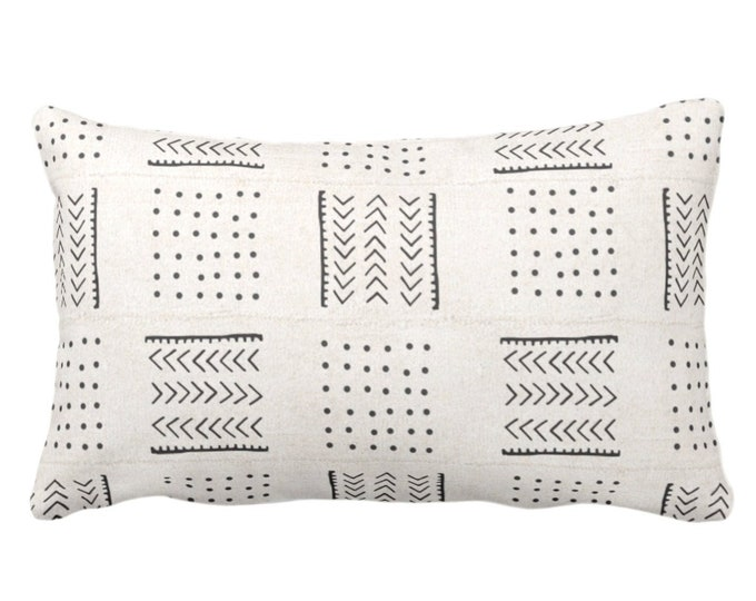 """OUTDOOR Mud Cloth Throw Pillow or Cover, Arrows & Dots Off-White/Black Print 14 x 20"""" Lumbar Pillows/Covers, Mudcloth/Tribal/Geometric"""
