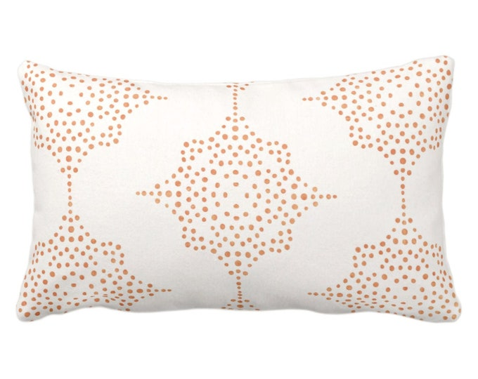 "OUTDOOR Block Print Stars Throw Pillow or Cover, Coral & Ivory 14 x 20"" Lumbar Pillows/Covers, Orange Blockprint/Batik/Geometric/Tribal"