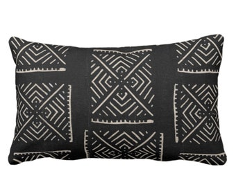 "OUTDOOR Mud Cloth Throw Pillow or Cover, Diamond Geo Black/Off-White Print 14 x 20"" Lumbar Pillows/Covers, Mudcloth/Tribal/Geometric/X"