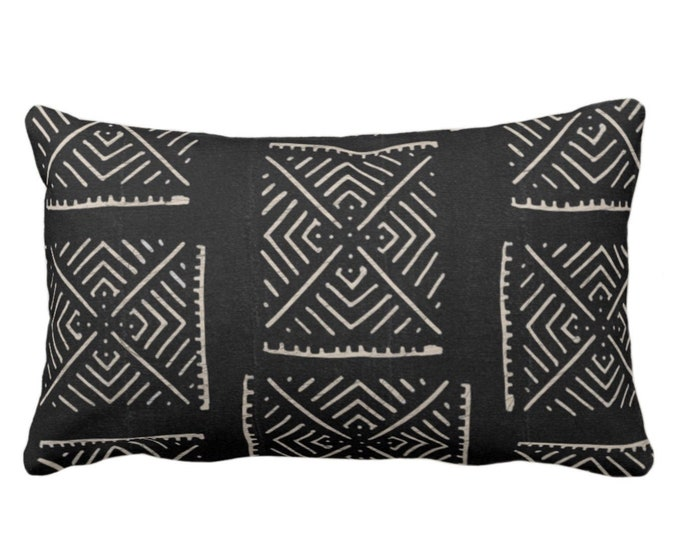 "OUTDOOR Mud Cloth Throw Pillow or Cover, Diamond Geo Black/Off-White Print 14 x 20"" Lumbar Pillows/Covers, Mudcloth/Tribal/Geometric/X"