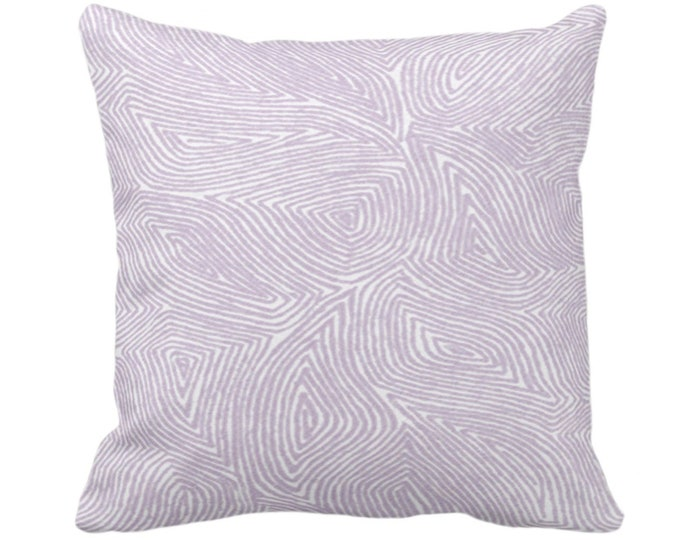 """Sulcata Geo Throw Pillow or Cover, Dusty Purple & White 14, 16, 18, 20, 26"""" Sq Pillows/Covers, Abstract Geometric/Tribal/Lines/Wavy Pattern"""
