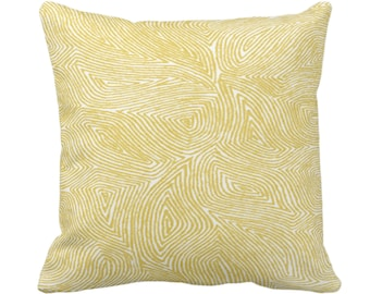 """Sulcata Geo Throw Pillow or Cover, Citron Yellow & White 14, 16, 18, 20, 26"""" Sq Pillows/Covers, Abstract Geometric/Tribal/Lines/Wavy Pattern"""