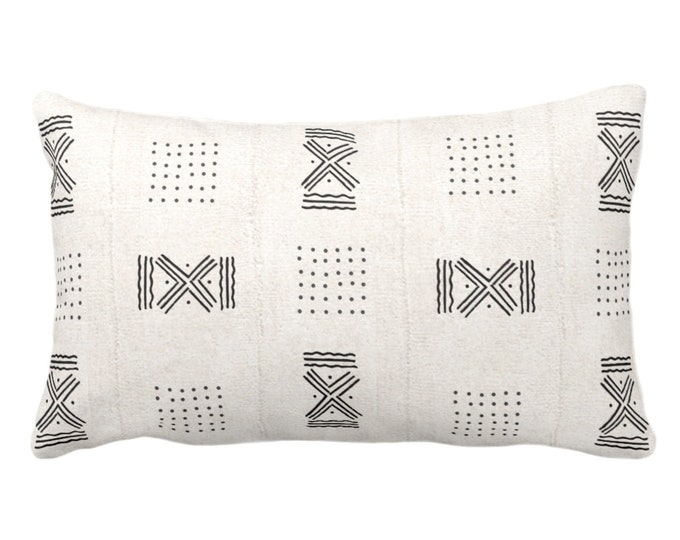 """OUTDOOR Mud Cloth Printed Throw Pillow/Cover, Double X/Dots Off-White/Black Print 14 x 20"""" Lumbar Pillows/Covers, Mudcloth/Tribal/Geometric"""