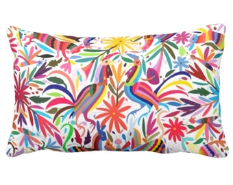 "OUTDOOR Colorful Otomi Throw Pillow or Cover, Printed 14 x 20"" Lumbar Pillows/Covers, Bright/Mexican/Boho/Bohemian/Floral/Animal Print"