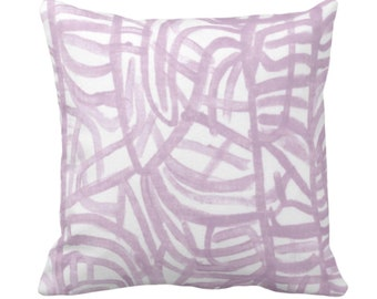 "READY 2 SHIP Avant Throw Pillow Cover, White/Aster 18"" Sq, Light Purple Painted Abstract Modern/Geometric/Geo/Lines Print"