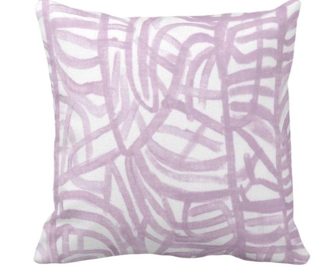 """SALE/READY 2 SHIP Avant Throw Pillow Cover, White/Aster 14"""" Sq Pillow Covers Light Purple Painted Abstract Modern/Geometric/Geo/Lines Print"""