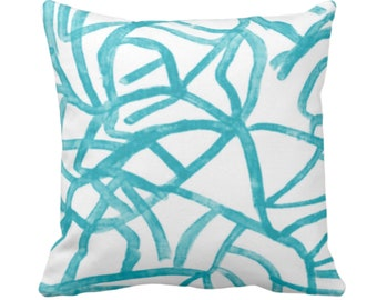 """Abstract Throw Pillow or Cover, White/Mod Turquoise 14, 16, 18, 20, 26"""" Sq Pillows/Covers, Painted Modern/Geometric/Geo/Lines Painting Print"""